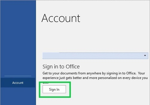 Microsoft Word File menu Account option Sign in