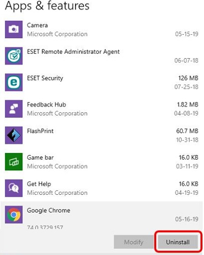 Apps settings screen, Norton or McAfee program, Uninstall