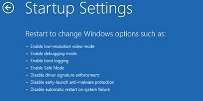Startup settings screen, Restart button on bottom right