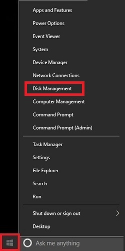 Windows Desktop Quick Access Menu Disk Management