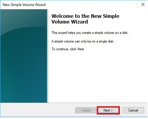 New Simple Volume Wizard Next