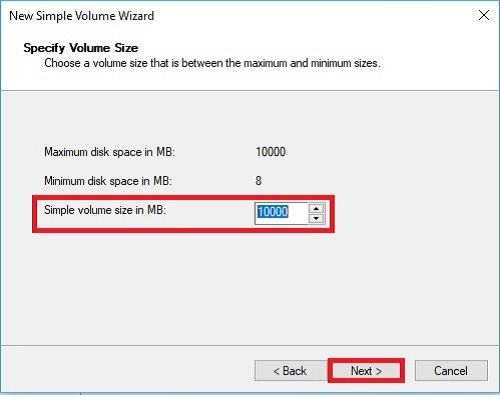 New Simple Volume Wizard Specify Volume Size Next