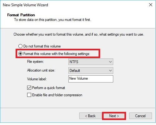 New Simple Volume Wizard Format partition and volume