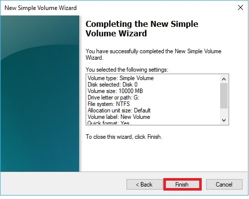 New Simple Volume Wizard Finish