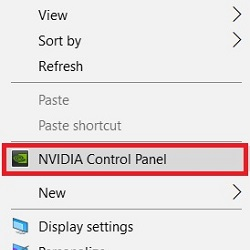 Windows 10 Desktop Context Menu Nvidia Control Panel