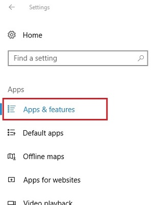Settings, Apps & features
