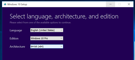 Windows 10 setup, Language, architecture, and edition