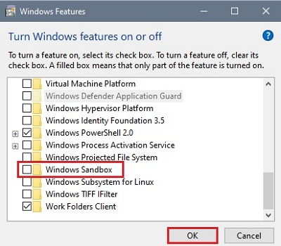 Windows features on or off Windows Sandbox
