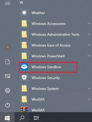 Windows Sandbox in list of programs