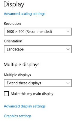 Extend display settings