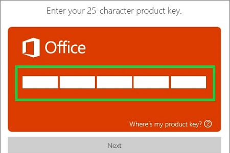 office account setup page on web, activation key