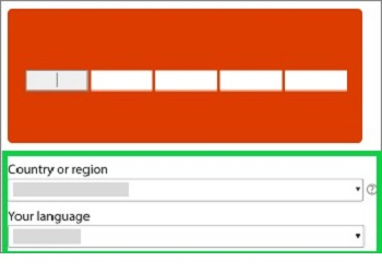office account setup page on web, language and country selection