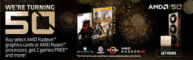 AMD - Buy select AMD Radeon graphics cards or AMD Ryzen processors and get 2 games free.