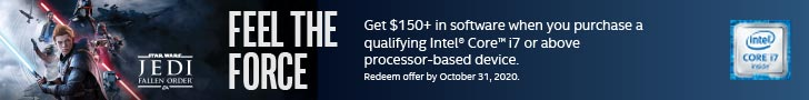 Feel The Force Get $150 and more in software when you purchase a qualifying Intel Core i7 or above processor-based device.