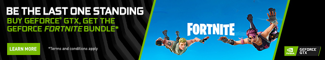 Be the last one standing. Buy GeForce GTX, get the GeForce Fortnite Bundle.