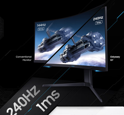 Screen image of G7 monitor showing images at 144Hz and 240Hz
