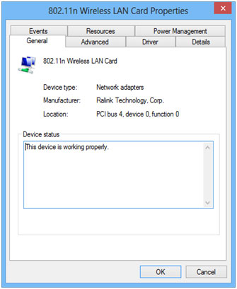 Device Manager Wireless Adapter Properties