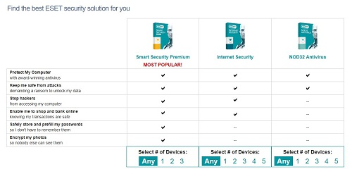 ESET Product Choices