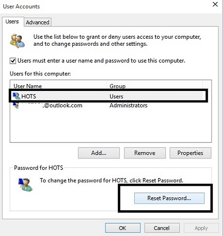 Windows 10 User Accounts Reset Password
