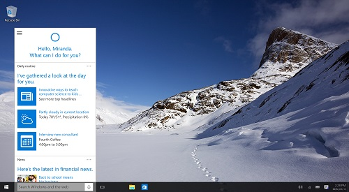 Windows 10 desktop, Cortana