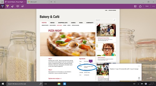 Windows 10 desktop, Microsoft Edge Browser