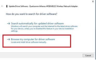How do you want to search for driver software?