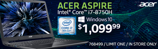 Acer Aspire Intel Core i7-8705 Windows 10 - $1,099.99; SKU 768499 Limit One In Store Only.