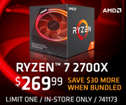 AMD Ryzen 7 2700X - $269.99; Save $30 more when bundled; limit one, in-store only, SKU 741173
