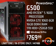 PowerSpec G500 Desktop - $769.99; AMD Ryzen 5 1600 processor, Nvidia GTX 1060 6GB, 16GB DDR4 RAM, 1TB HDD plus 250GB SSD, Windows 10 Pro; limit one, in-store only, SKU 447466