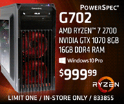 PowerSpec G702 Desktop - $999.99; AMD Ryzen 7 2700 processor, Nvidia GTX 1070 8GB, Windows 10 Pro; limit one, in-store only, SKU 833855