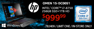 HP Omen 15-DC0051 - Intel Core i7-8750; Windows 10; 256GB SSD+1TB HD; $999.99 sku 782409; IN-STORE ONLY; LIMIT ONE