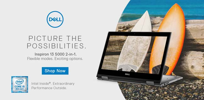 Dell - Picture the Possibilities. Inspiron 13 5000 2-in-1. Flexible modes. Exciting options. Shop Now