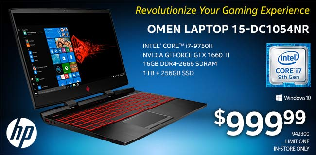HP Omen 15-DC1054NR Laptop; Intel Core i7-9750H Processor; NVIDIA GeForce GTX 1660 TI; 16GB DDR4-2666 SDRAM; 1TB Plus 256GB SSD; Windows 10. $999.99. SKU 942300. Limit One, In-Store Only