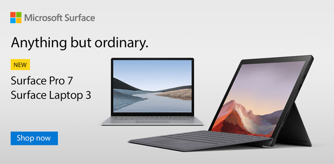 Microsoft Surface. Anything but ordinary. NEW - Surface Pro 7, Surface Laptop 3; SHOP NOW