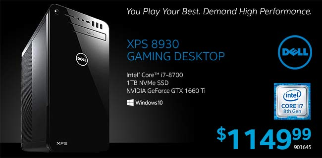 Dell XPS 8930 Desktop - Intel Core i7-8700; 1TB NVMe SSD; NVIDIA GeForce GTX 1660 Ti; Windows 10. $1,149.99. SKU 901645 - Play Your Best. Demand High Performance