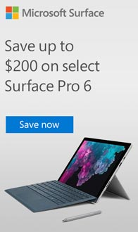 Save up to $200 on select Surface Pro 6.