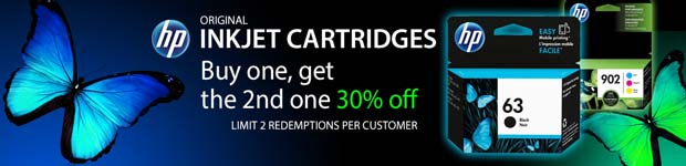 HP Inkjet Cartridges Buy one, get the 2nd one 30% off