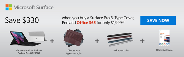 Save up to $330 on select Surface Pro 6 Bundles.
