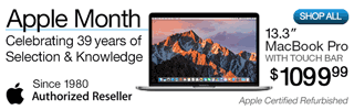 Apple Month - Celebrating 39 Years of Selection and Knowledge - 13.3-inch MacBook Pro with Touch Bar, Apple Certified Refurbished - $1099.99; SHOP NOW