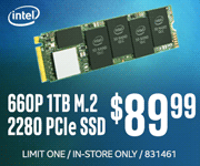 Intel 660p 1TB M.2 2280 PCIe SSD - $89.99; limit one, in-store only, SKU 831461