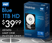 Western Digital Blue 1TB Hard Drive - $39.99, limit one, in-store only, SKU 622456
