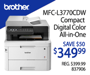 Brother MFC-L3770CDW Compact Digital Color All-in-One Printer - SAVE $50, $349.99; Reg. $399.99, SKU 837906