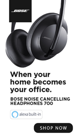 When your home becomes your office. Bose headphones.