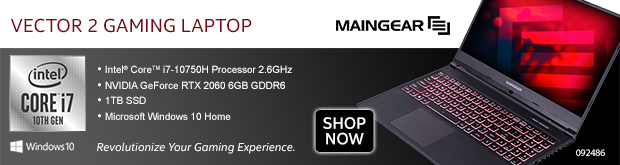 "MAINGEAR Vector 2 15.6"" Gaming Laptop"