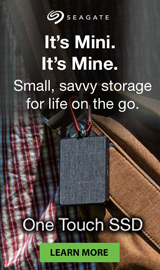Seagate One Touch SSD. Small, savy storage for life on the go.