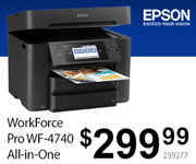 Epson WorkForce Pro WF-4740 All-in-One Printer - $299.99; SKU 239277