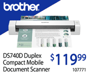 Brother DS740D Duplex Compact Mobile Document Scanner - $119.99; SKU 107771