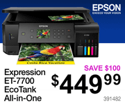 EPSON Expressions ET-7700 EcoTank All-in-One Printer - $449.99; Save $100; SKU 391482