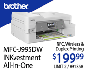 Brother MFC-J995DW INKvestmentAll-in-One Laser Printer - $199.99; Limit Two; 891358