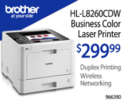 Brother HL-L8260CDW Business Color Laser Printer - $299.99; Duplex printing, Wireless networking; Limit Two; SKU 966390